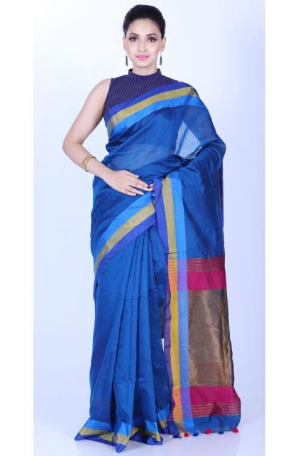 Blue Cotton Silk Handloom Saree