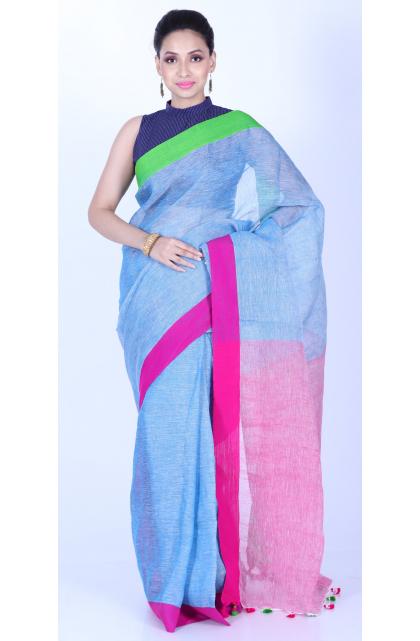 Blue Linen Blend Handloom Saree