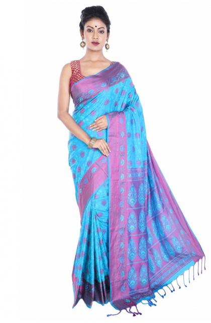 Blue Jacquard silk Saree