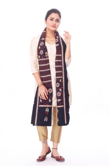 Black Cotton Hand Embroidered Kantha Dupatta