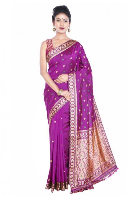 Magenta Assam Silk Saree