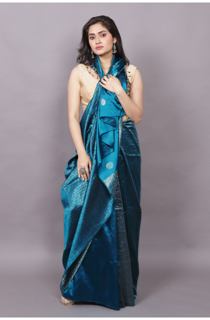 Peacock Blue  Partywear Pure Silk saree