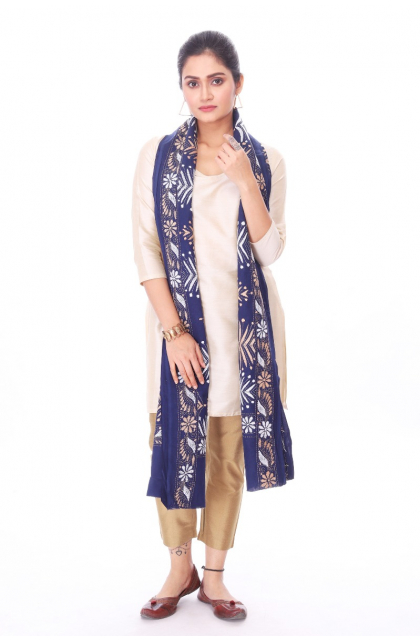 Blue Cotton Hand Embroidered Kantha Dupatta