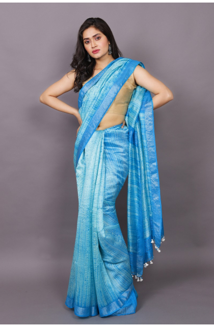 Sky Blue Partywear Silk saree