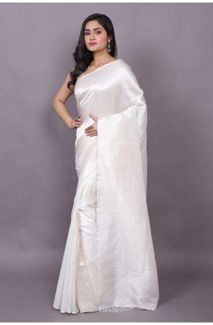 WHite  Partywear Pure Silk saree