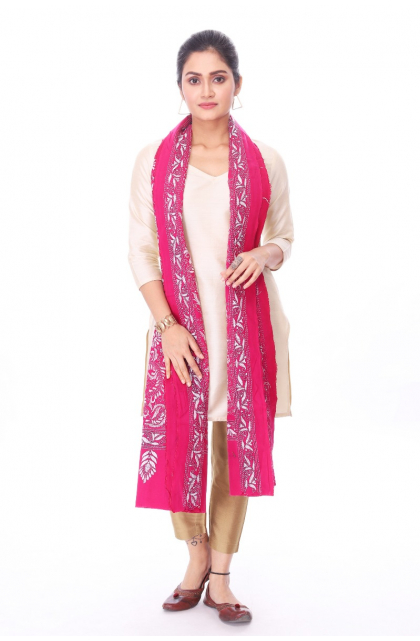 Pink Cotton Hand Embroidered Kantha Dupatta