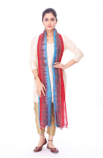 Multicolour Hand Embroidered Kantha Dupatta