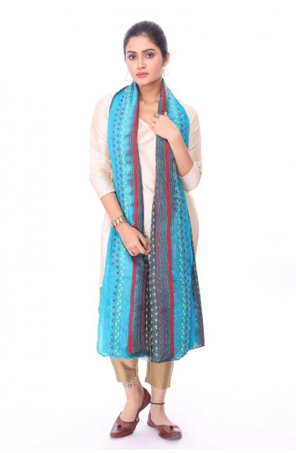 Blue Hand Embroidered Kantha Dupatta