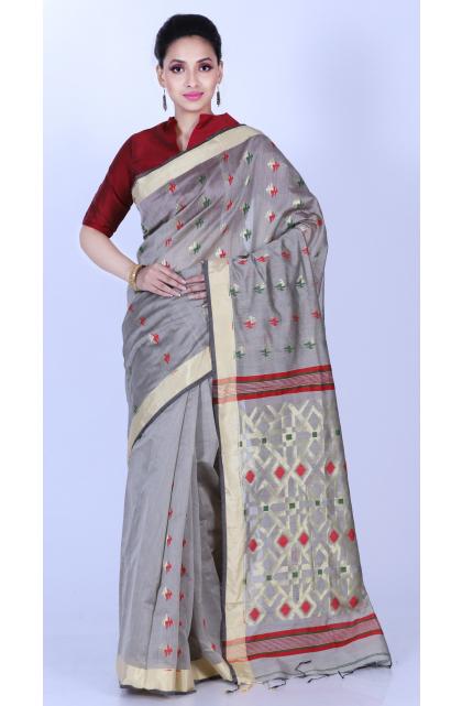 Grey Cotton Blend Saree