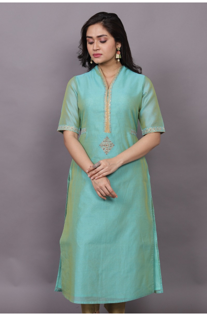 SEA GREEN CHANDERI EMBROIDERED EXCLUSIVE LONG KAMEEZ