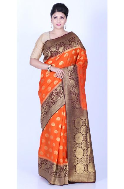 Orange Exclusive Dupion Silk Saree