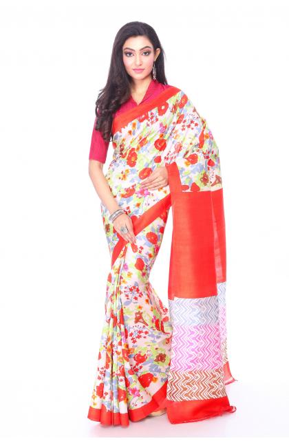 Multi Colour Printed Silk Saree
