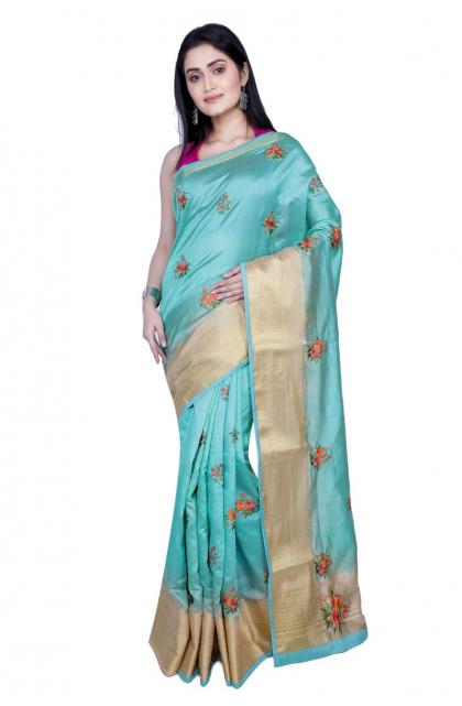Seagreen Embroidered Dupion Silk Saree