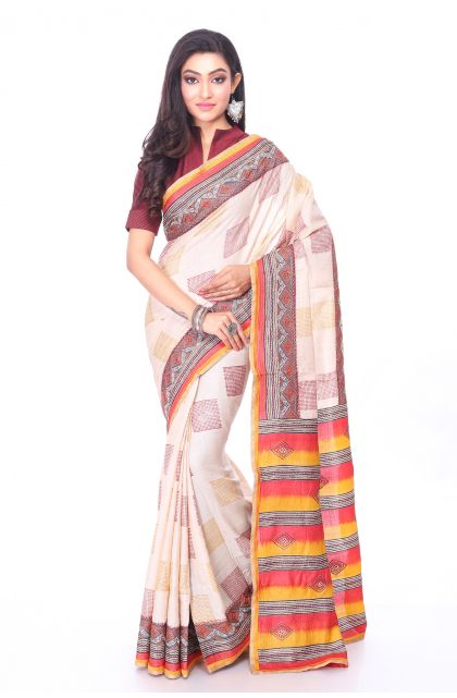 Off White Tussar Hand Embroidered Saree