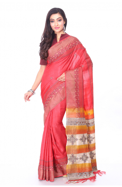 Red Tussar Hand Embroidered Saree
