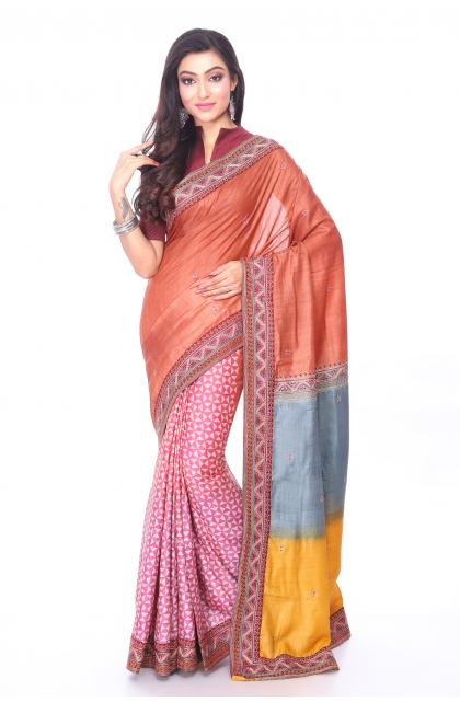 Multicolour Tussar Hand Embroidered Saree