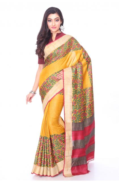 Yellow Tussar Printed Saree