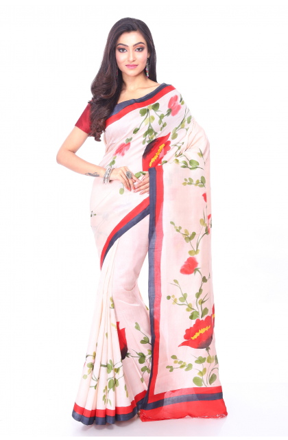 Off White Hand Painted Silk Saree