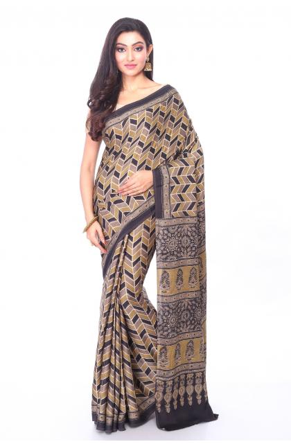 Beige Ajrakh Printed Silk Saree