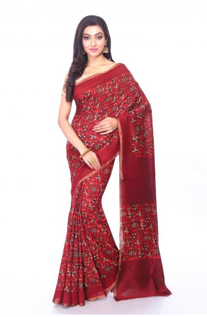Red Munga Tussar Saree