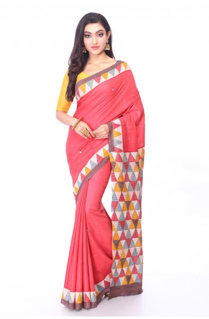 Red Kantha Stitch Tussar Saree