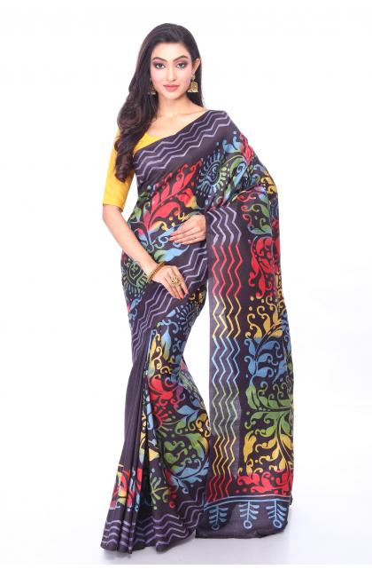 Multi Colour Silk Batik Saree