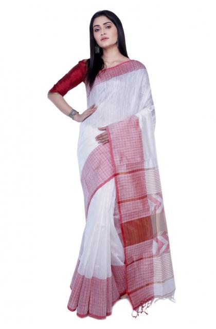 White Matka Weaving Saree