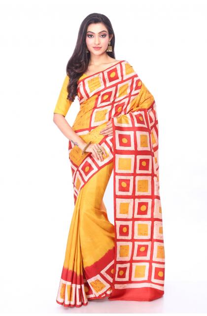 Yellow Silk Batik Saree
