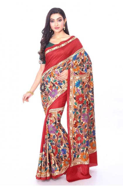 Maroon Kantha Stitch Silk Saree