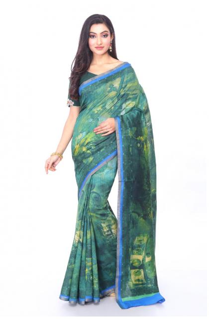 Munga Tussar Green Printed Saree