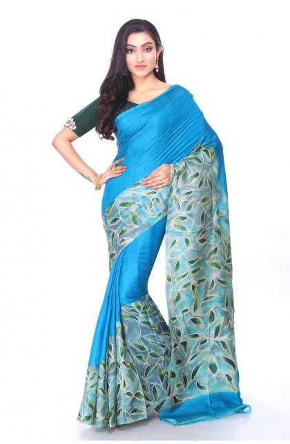Blue Tussar Batik Saree