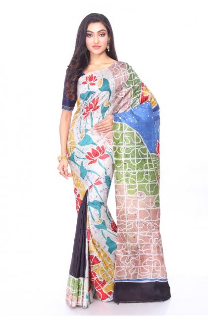 Multicolour Batik Silk Saree