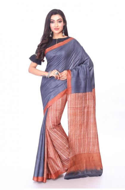 Brown Printed Tussar Saree