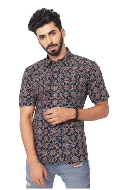 Blue Ajrak Printed Cotton Half Shirt