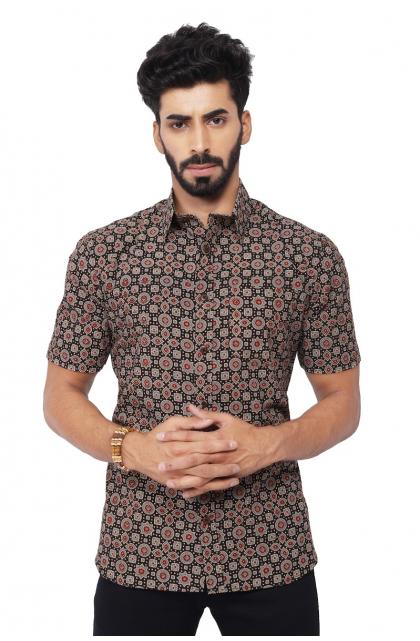 Black Ajrak Printed Cotton Half Shirt