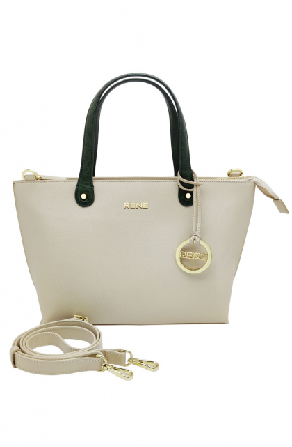 Genuine Leather Off-White / Bottle Green Ladies Bag
