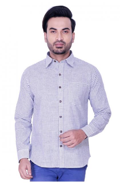 White Cotton Check Shirt