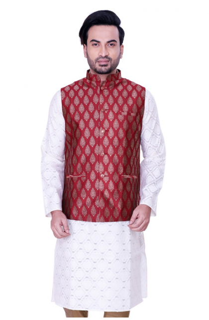 Red Jacquard Woven Jacket