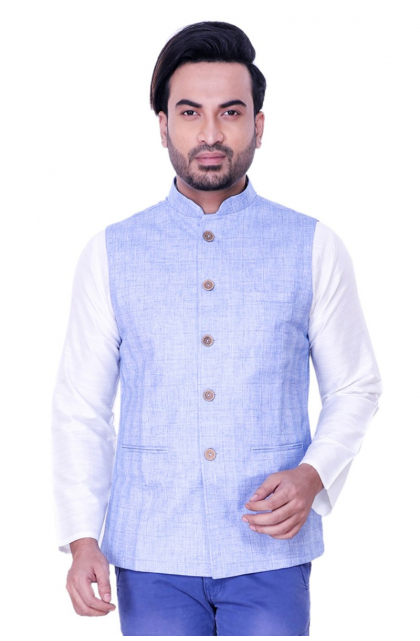 Blue Jute Linen Ethnic Jacket