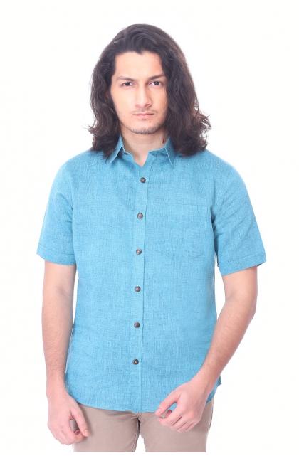 Sky Blue Cotton Half Shirt