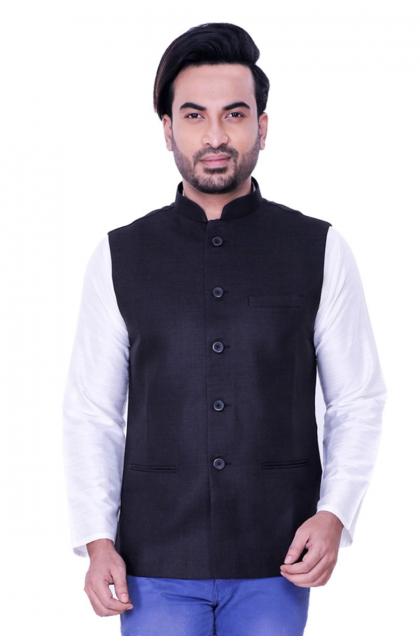 Black Jute Linen Ethnic Jacket