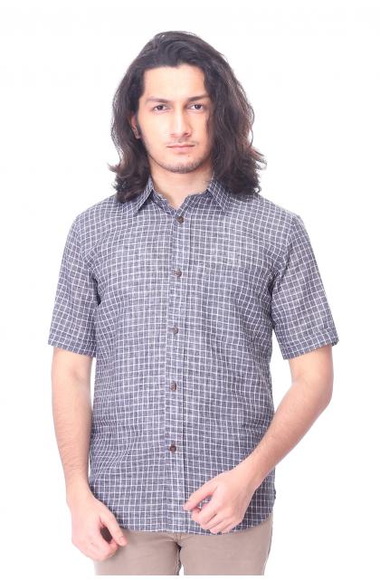Grey Checks Cotton  Half Shirt