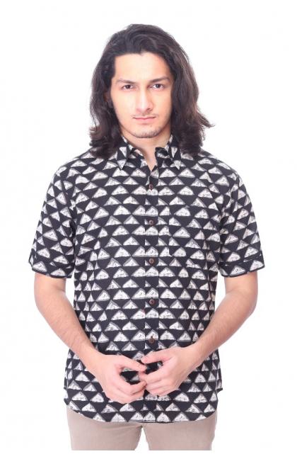 Black Cotton Printed Half Shirt