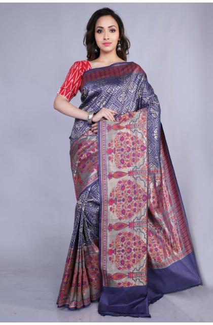Blue Tussar Banarasi Saree