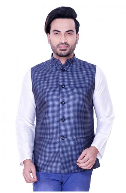 Blue Jute Cotton Ethnic Jacket