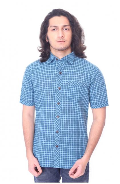 Blue Cotton Check Half Shirt