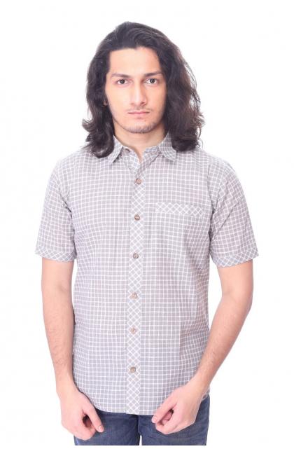 Grey Checkerd Cotton  Half Shirt