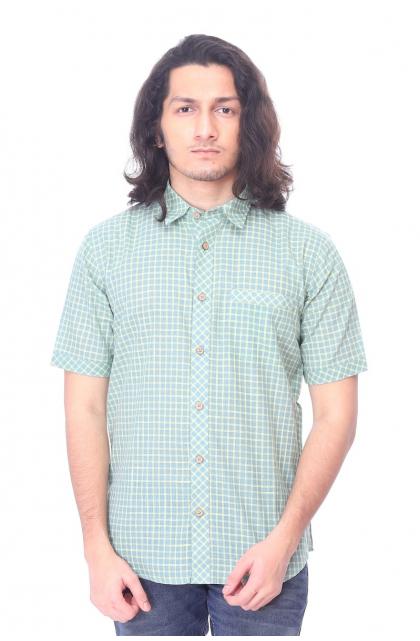 Green Checks Cotton  Half Shirt