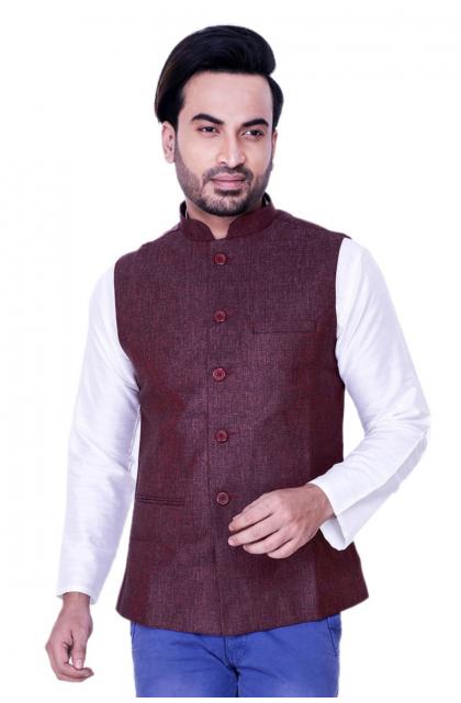 Maroon Cotton Linen Jacket