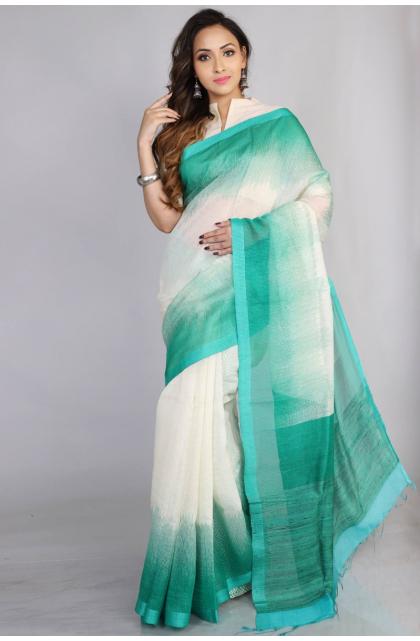 White Matka Silk Saree
